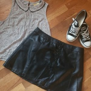 Pleather skirt from H&M , A-line fit, snap front.